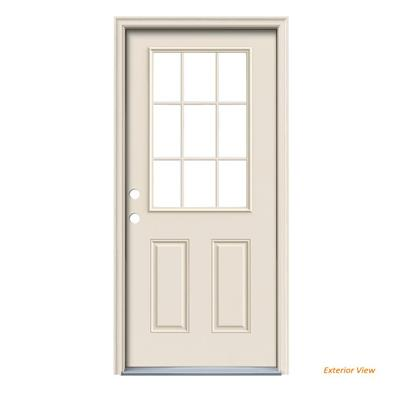 Door Clear Steel Prehung Back, 32 in. x 80 in. Primed Right-Hand Inswing 9 Lite, With Brickmould, 1 Unit