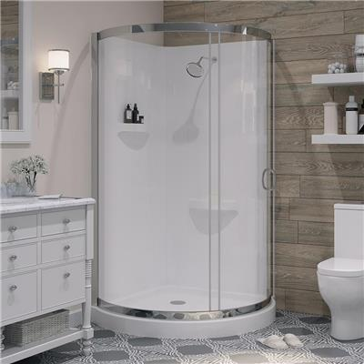 Breeze 38 in. x 38 in. x 76 in. Shower Kit with Reversible Sliding Door and Shower Base