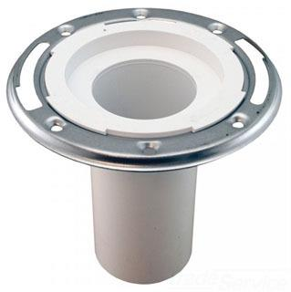 """C57-236 4X3 ADJ PVC DWV CLOSET FLANGE W/ S/S RING W/ 6in LONG EXTENSION FITS INSIDE 3"""" PIPE"""