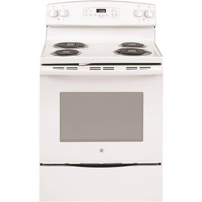 Ge 30 In. 5.3 Cu. Ft. Electric Range With Self-cleaning Oven In White