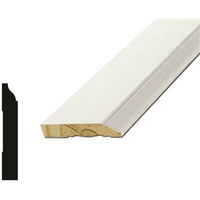 Moulding And Millwork Base Molding, Colonial Style, Primed White-1/2 In. Thick - 3-1/4 In. High -12 Ft. Sections