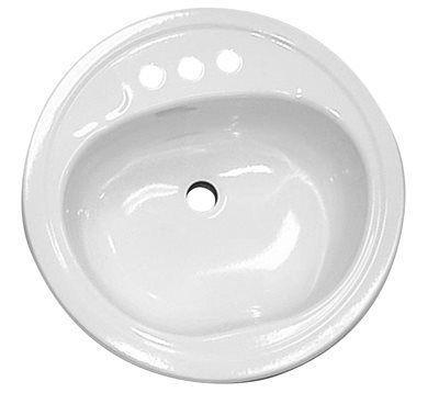 Lavatory Sink Round Steel 19' White
